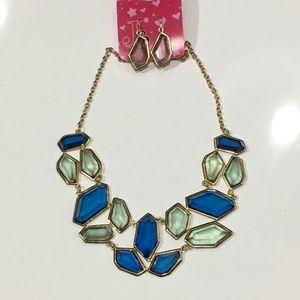 Jadore Bijoux Blue & Green Statement Necklace